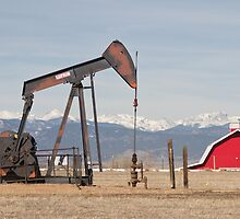 Rocky Mountains Oil Well And Red Barn Panorama by Bo Insogna