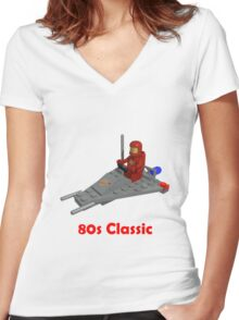 80s Classic Space Lego Women's Fitted V-Neck T-Shirt