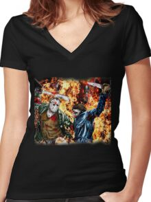 the battle for HELL Women's Fitted V-Neck T-Shirt