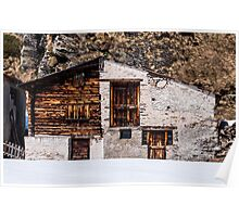 Old wooden alpine house Poster