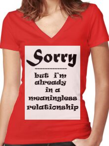SORRY Women's Fitted V-Neck T-Shirt