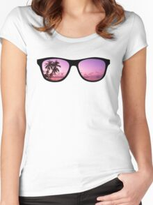 Hipster Beach Scene in the Sunset Women's Fitted Scoop T-Shirt