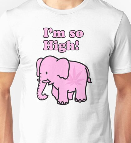 "Pink Elephant ""I'm so High!"" Unisex T-Shirt"