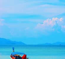 boat in peaceful sea and blue sky by juat