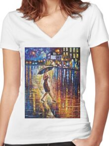 Woman With Umbrella Painting Women's Fitted V-Neck T-Shirt