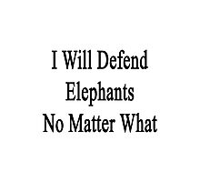 I Will Defend Elephants No Matter What Photographic Print