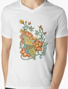 Spring Butterflies Roses and Vines Mens V-Neck T-Shirt