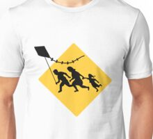 Running Immigrant Family Flying a Kite  Unisex T-Shirt