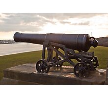 cannon on the walls of Collingwoods Monument at Tynemouth Photographic Print