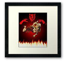 lucha de gato del diablo Framed Print