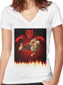 lucha de gato del diablo Women's Fitted V-Neck T-Shirt