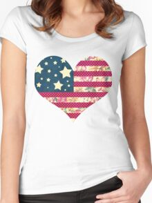 Shabby Chic American Flag Women's Fitted Scoop T-Shirt