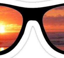 Hipster Beach Sunset Scene Sticker