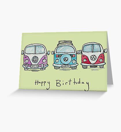 Three VW Camper Vans Greeting Card