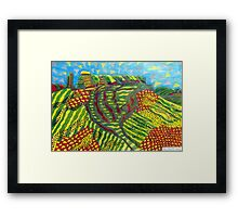 378 - MOUNTAIN ABSTRACT - DAVE EDWARDS - COLOURED PENCILS - 2013 Framed Print