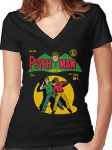 Psychman and Magic Head Women's Fitted V-Neck T-Shirt