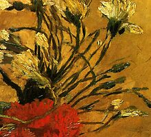 Van Gogh- Vase With Red and White Carnations by drewkrispies