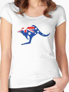 Australian Kangaroo Flag Women's Fitted Scoop T-Shirt