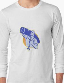 Carpet Layer Worker Carry Knee Kicker Tool Long Sleeve T-Shirt