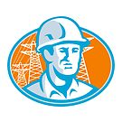 Construction Worker Engineer Pylons Retro by retrovectors
