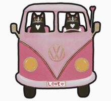Cats in a Pink Love Bus Kids Clothes