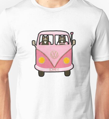 Cats in a Pink Love Bus Unisex T-Shirt