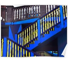 Blue and Yellow Stairway Poster