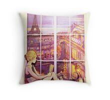 A Window to Paris Throw Pillow