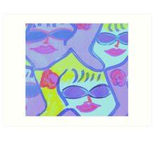 Cool Ladies in Purple Sunglasses! Art Print