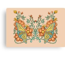 Spring Butterflies Roses and Vines Canvas Print