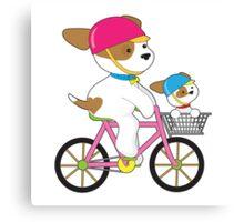 Cute Puppy on Bike Canvas Print