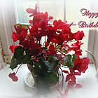 Happy Birthday Greeting Card - Red Cyclamen by MotherNature