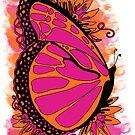 Pink Summer Butterfly Design by JanDeA