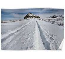Castle Butte in the Big Muddy Badlands in Winter Poster