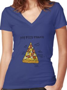 Pizza Food Pyramid Women's Fitted V-Neck T-Shirt