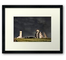 Prairie Grain Elevator in Saskatchewan Canada with storm clouds Framed Print