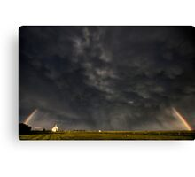 Old Country Church in Saskatchewan Canada with storm clouds rainbow Canvas Print