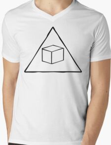 Delta Cubes Will Never Die! (Black) Mens V-Neck T-Shirt