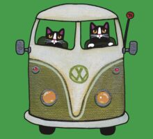 Two Cats in a Green Bus Kids Clothes