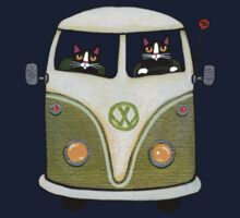 Two Cats in a Green Bus Kids Tee