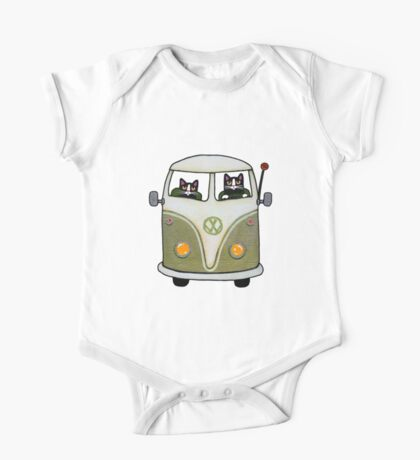 Two Cats in a Green Bus One Piece - Short Sleeve
