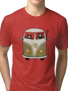 Two Cats in a Green Bus Tri-blend T-Shirt