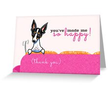 Thank You Dog So Happy Pink Greeting Card