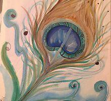 Watercolor peacock  by Scarter47