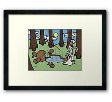 Teddy Bear And Bunny - Acid Trip Framed Print