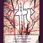 """Forgiven"" Cross of Jesus Red by Terri Chandler"