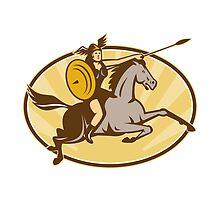 Valkyrie Riding Horse Retro by patrimonio