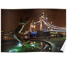 Dolphin and Lady Fountain Tower Bridge, London. Poster