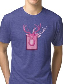 The Pink Deer Head Graphic Tri-blend T-Shirt