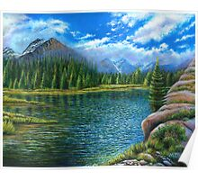 Acrylic painting, Lake and mountain landscape art Poster